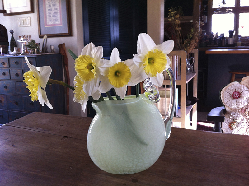 Daffodils in one of David's green flat vases.