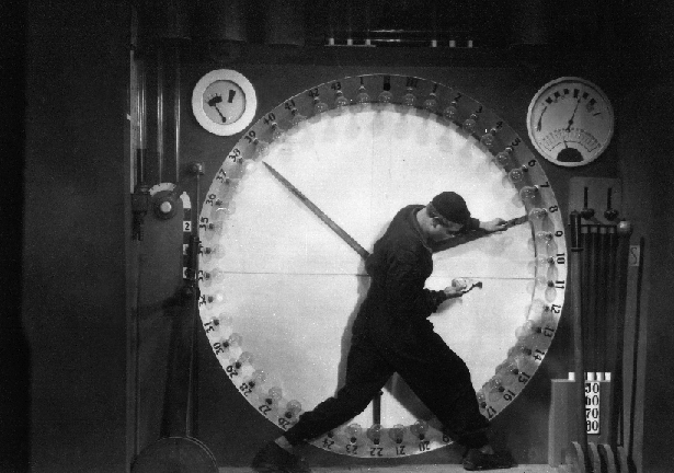 The scene in Metropolis where the man is enslaved to the clock. Why didn't we listen while we still had ears?