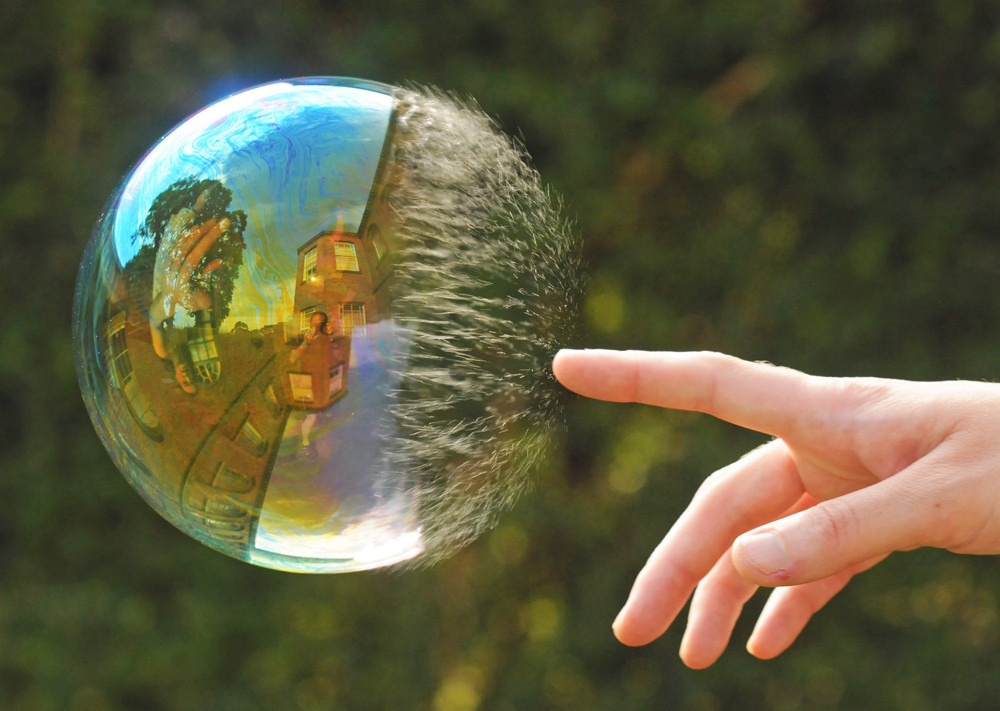 A bubble at the point of bursting.