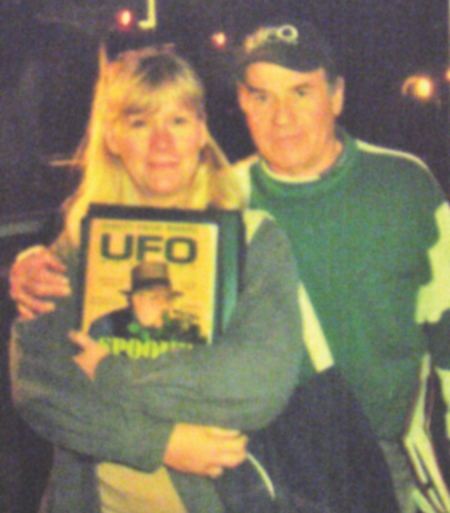 Bill and Nancy Birnes in 2004, with the Jim Marrs issue.